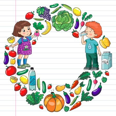 Vector pattern with children eating healthy food. Fruits and vegetables. Kids like milk, dairy products. Pattern for store, mall, menu, cafe, restaurants.