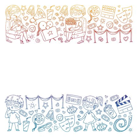 Cinema pattern with vector icons for wrapping paper, posters, banners, leaflets. 3d movie, tv, musical.