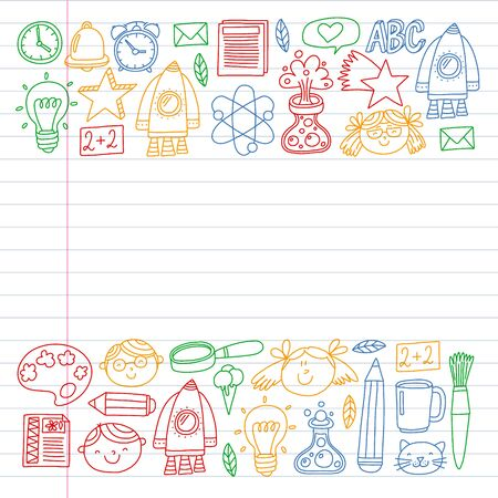 Online education concept. Vector icons and elements for little children, college, internet courses. Doodle style, kids drawing. 일러스트