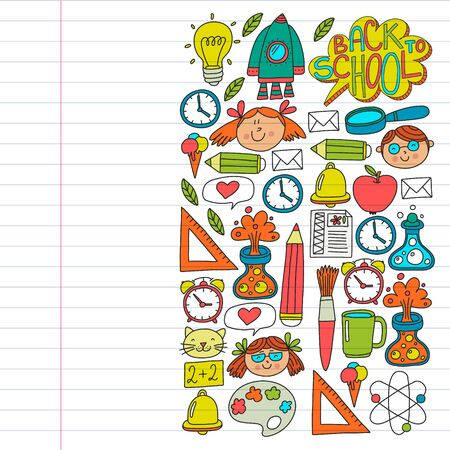 Online education concept. Vector icons and elements for little children, college, internet courses. Doodle style, kids drawing.