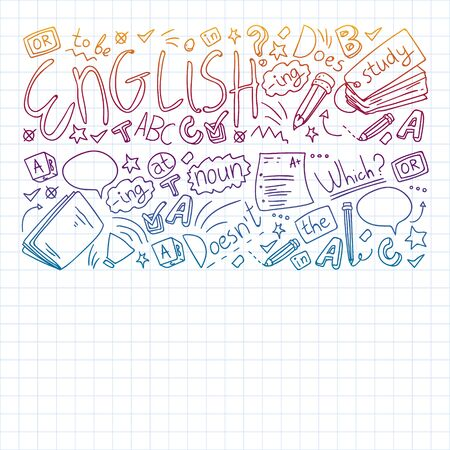 English internet online courses. Doodle vector concept illustration of learning english language.