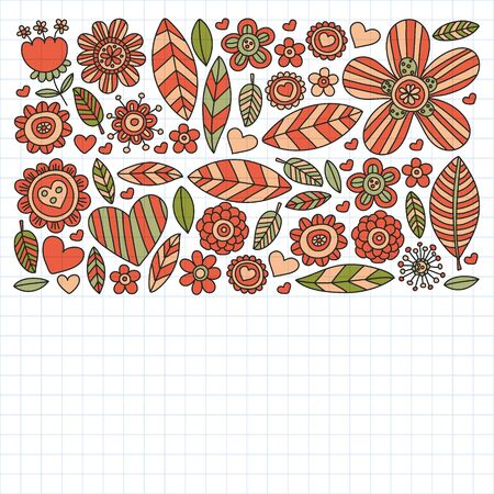 Vector pattern with doodle flowers and leaves Ilustración de vector