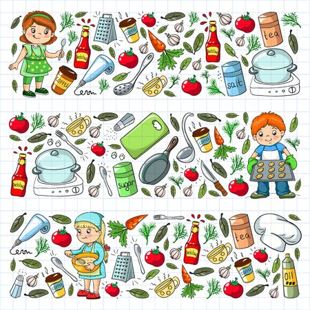 Vector pattern with cooking class for little children. Kids icons. Healthy eating.