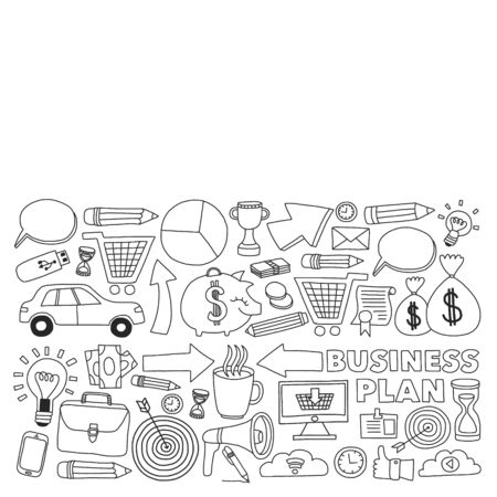 Conceptual illustration of projects organization, risk, development. Team working, budget planning. Vettoriali