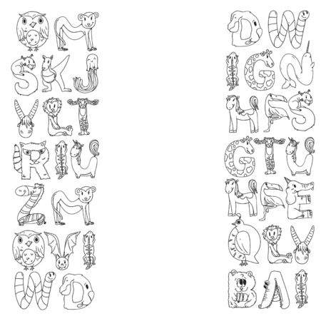 Animal alphabet. Zoo alphabet. Letters from A to Z. Cartoon cute animals. Illustration