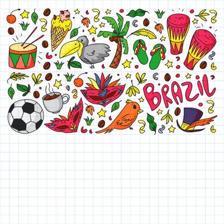 Brazilian vector pattern with palm, beach, sea carnival  イラスト・ベクター素材
