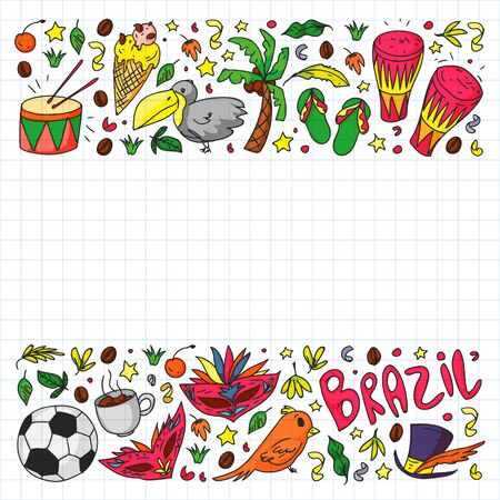 Brazilian vector pattern with palm, beach, firework. Brazil icons for posters and banners. Ilustração