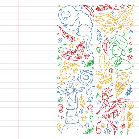 Brazil vector doodle pattern with symbols of country. Soccer, statue of Jesus, mask, monkey, soccer.
