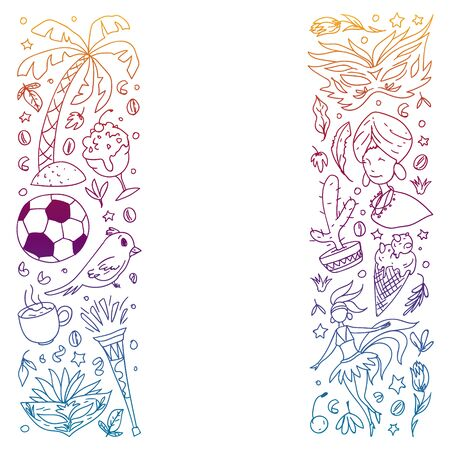 Coloring page with Brazil. Vector doodle pattern with symbols of country. Soccer, statue of Jesus, mask, monkey, soccer.