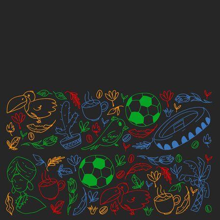 Rio de janeiro Brazil. Vector pattern with national symbols. Ilustração