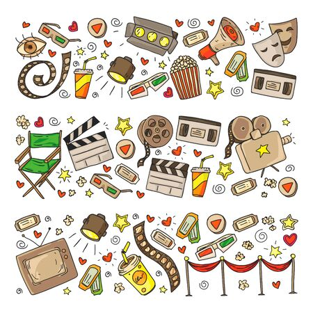 Online internet cinema pattern with vector icons for wrapping paper, posters, banners, leaflets. 3d movie, tv, musical. Vektoros illusztráció