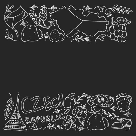 Vector pattern with symbols of Czech Republic. Set with tourism icons and landscapes elements. Travel to country. City, cathedral, building, European architecture. Illustration with landmarks Vektoros illusztráció
