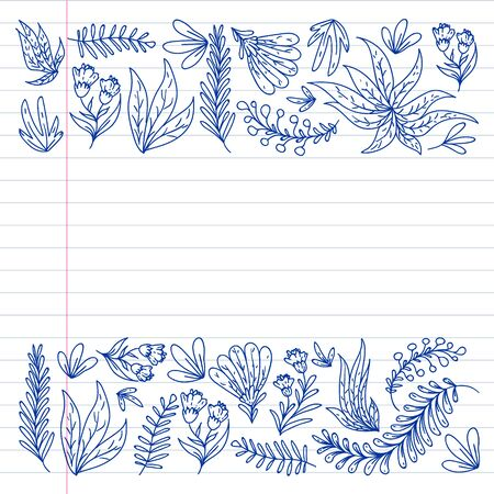Hand vector drawn floral, leaves elements. Pattern for logo, greeting card, wedding design. Logo