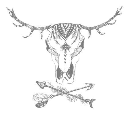 Cow, buffalo, bull skull in tribal style. Bohemian, boho vector illustration. Wild and free ethnic gypsy symbol. Vettoriali