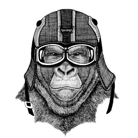 gorilla, monkey Animal wearing motorcycle helmet. Image for kindergarten children clothing, kids. T-shirt, tattoo, emblem, badge, patch Ilustración de vector