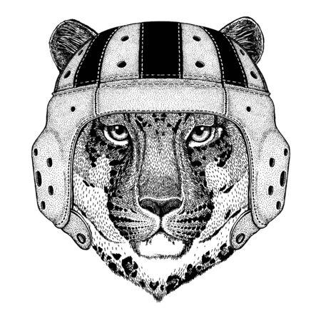 Leopard. Portrait of animal wearing rugby helmet 向量圖像