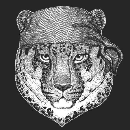 Leopard, jaguar face. Bandana. Biker, pirate. Portrait of wild animal.
