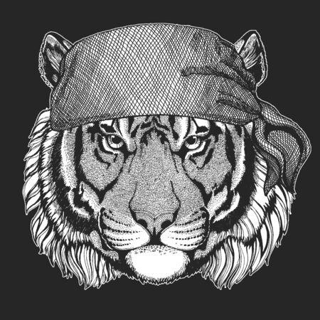 Tiger portrait. Bandana. Biker, pirate. Wild cat head.