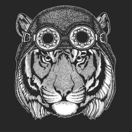 Tiger portrait. Aviator leather helmet. Wild cat head.