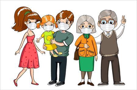 Family wearing protective masks. Coronavirus, covid-19 protection. Virus alert.