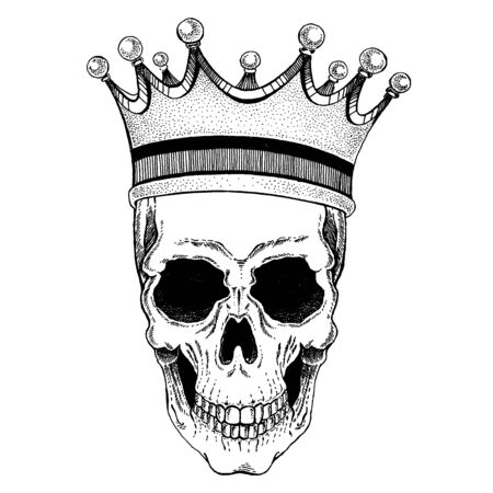 Vector skull with crown in disco music style.