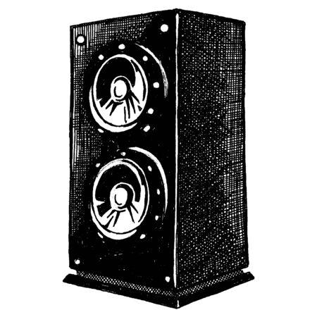 Vector speaker. Electronic technology for music. Vintage design. Loudspeaker. Home theatre. Vektorové ilustrace