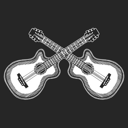 Icon of electric vector guitar. Online internet musical school. Music education. Vectores
