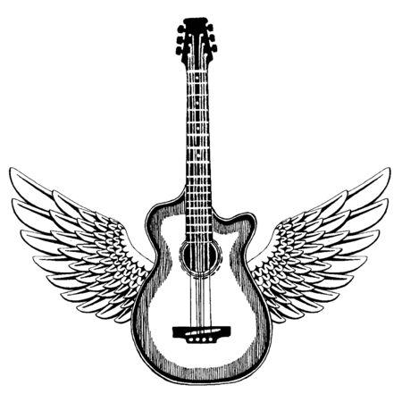 Cool guitar. Rock emblem for music festival. Heavy metall concert. T-shirt print, poster. Musical instrument. Badge, logo arts