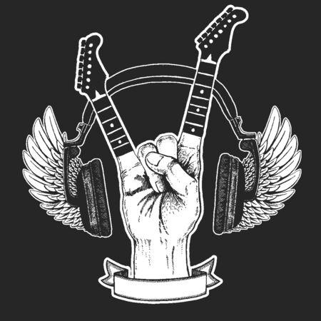 Rock heavy metal, hard rock music hand symbol. Ilustración de vector