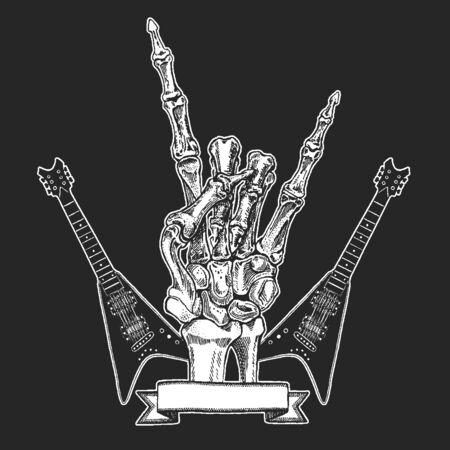 Rock heavy metal, hard rock music hand symbol.
