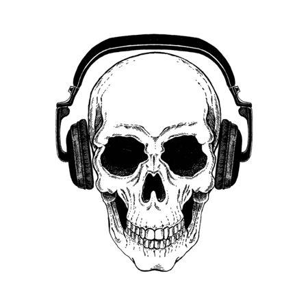 Skull with guitar. Logo for shirt, musical poster
