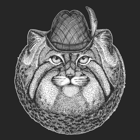 Pallas cat head. Oktoberfest. Tirol traditional hat. Beer festival. Manul head. Wild cat portrait. Ilustración de vector