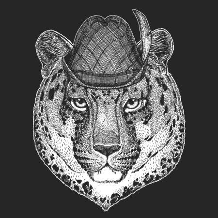 Leopard, jaguar face. Oktoberfest. Tirol traditional hat. Beer festival. Portrait of wild animal.