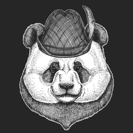 Big panda, bamboo bear portrait. Oktoberfest. Tirol traditional hat. Beer festival. Face of cute animal. Bear head.