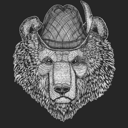 Wild bear. Oktoberfest. Tirol traditional hat. Beer festival. Portrait of animal for emblem, logo, tee shirt.
