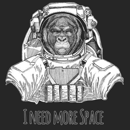 Baboon, monkey, ape. Wild animal wearing space suit. Head, portrait of animal. Illustration