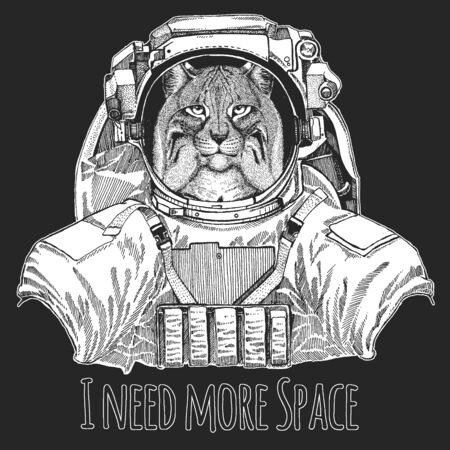 Lynx, bobcat, trot portrait. Wild animal wearing space suit. Head of wild cat. Animal face.