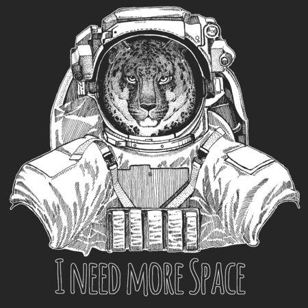Leopard, jaguar face. Wild animal wearing space suit. Portrait of wild animal.