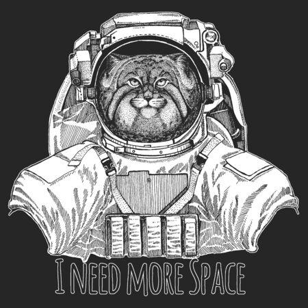 Pallas cat head. Wild animal wearing space suit. Manul head. Wild cat portrait. Ilustración de vector