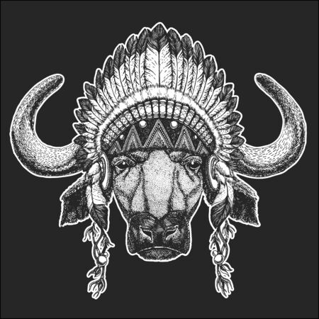 Portrait of buffalo, bison, bull, cow. Indian tribal traditional headdress with feathers. Face of animal.
