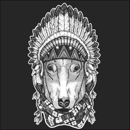 Bullterrier, dog. Indian tribal traditional headdress with feathers. Vectores