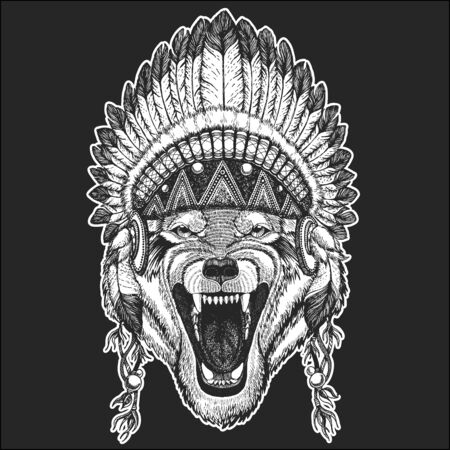 Wolf portrait. Head of wild animal. Indian tribal traditional headdress with feathers.
