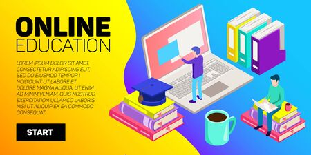 Online education concept, flat design with long shadow on turquoise background