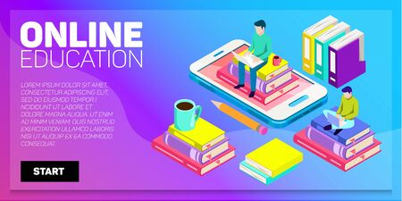 Isometric online education vector banner. E-learning. Imagination ad creativity.
