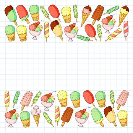 Collection of vector ice creams. Pattern for banners, posters.