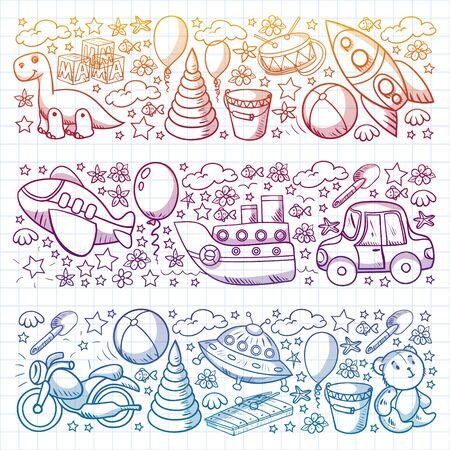 Baby toy set. Vector flat style cartoon illustration. Wooden and plastic toys, fun and activity. Kindergarten, nursery