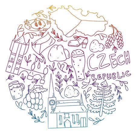 Vector icons and symbols. Czech Republic illustration. Vektoros illusztráció