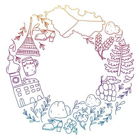 Vector icons and symbols. Czech Republic illustration.