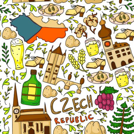 Czech Republic. Vector icons and symbols. Image for banners, posters, background.