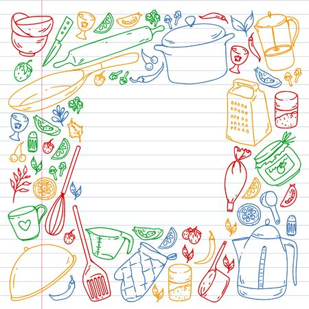 Cooking class. Kitchenware, utencils. Food and kitchen icons.